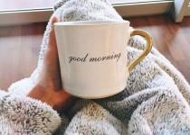 カップを持った女性の朝