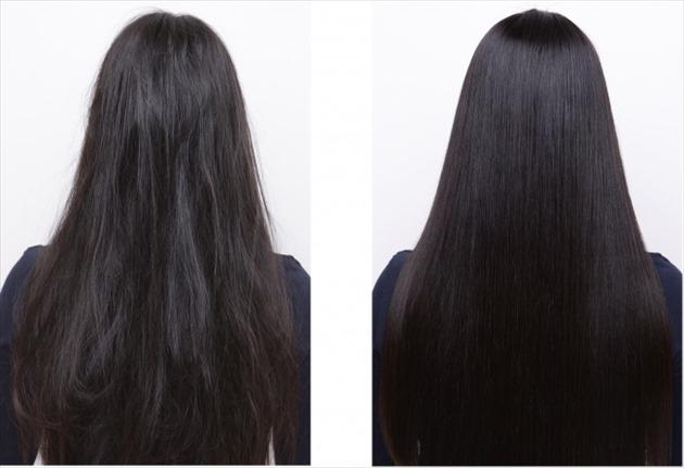 後姿の女性の髪のツヤあり・なしを比較した画像
