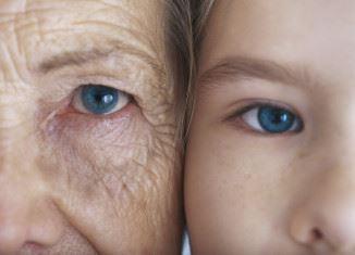 老化した肌と子供の肌