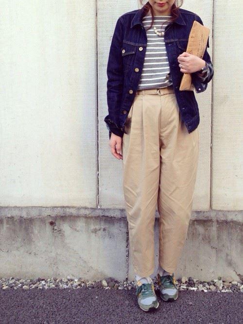 Gジャンをガウチョ・ワイドパンツで着こなした春夏レディースコーディネート画像4
