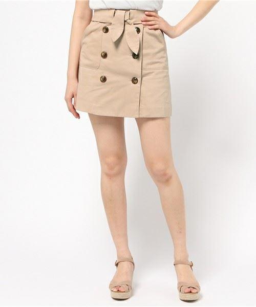 dazzlin「トレンチ風デニム台形スカート」