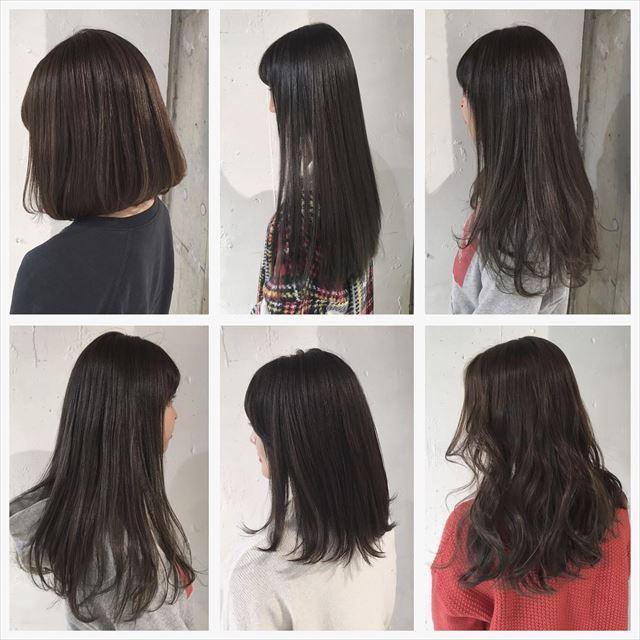 流行の暗髪コバルトアッシュのヘアカラーサンプル画像1