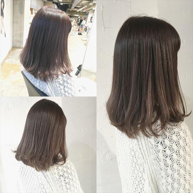 流行の暗髪コバルトアッシュのヘアカラーサンプル画像4