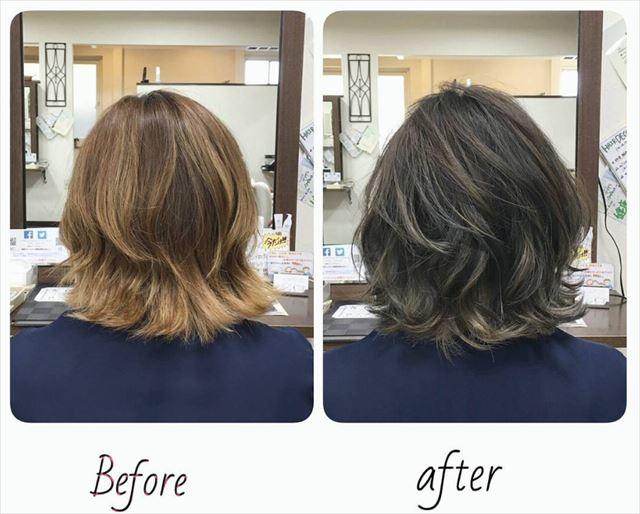 流行の暗髪コバルトアッシュのヘアカラーサンプル画像5