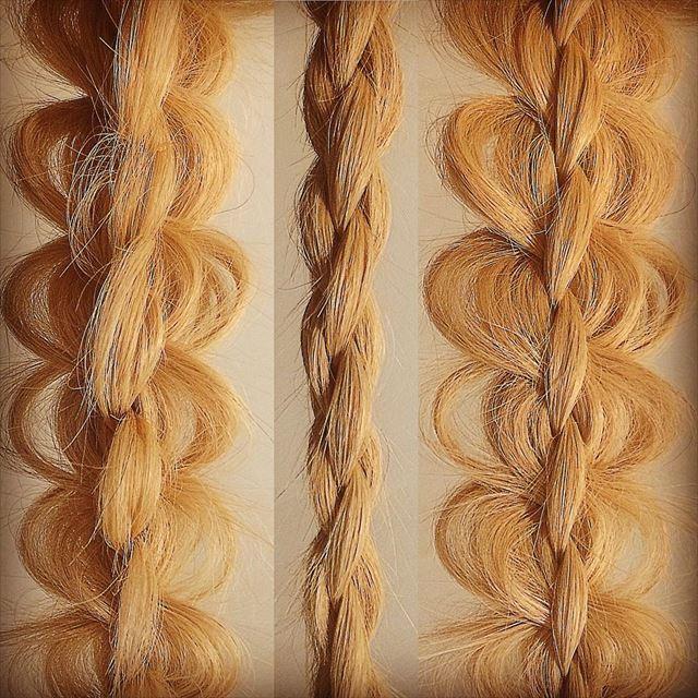 四つ編みをした3種類の髪の束の画像