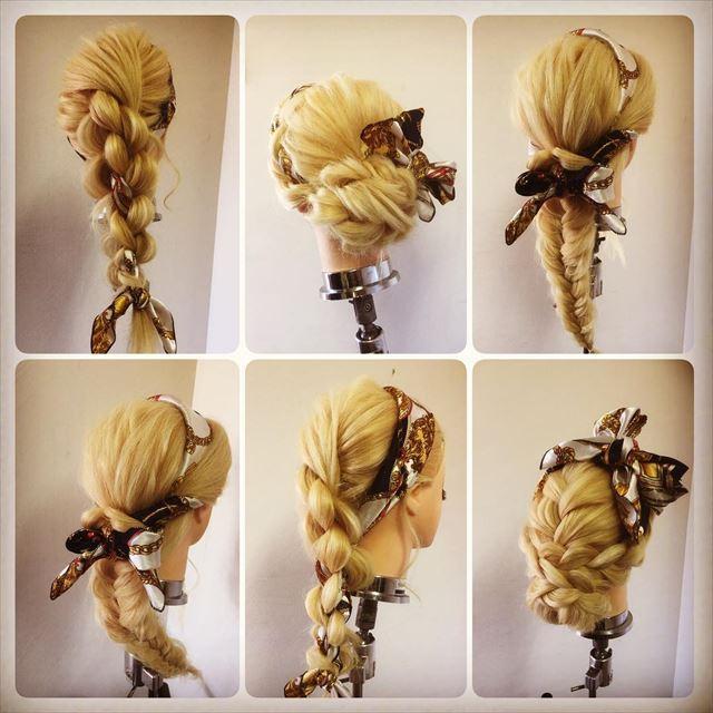 スカーフ×三つ編みで作ったヘアアレンジの画像