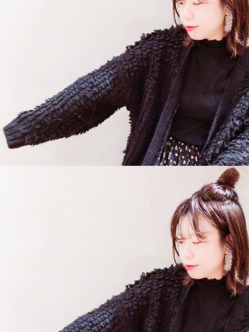 カーディガンタイプのモコモコカーディガンを着こなした女性のコーデ画像