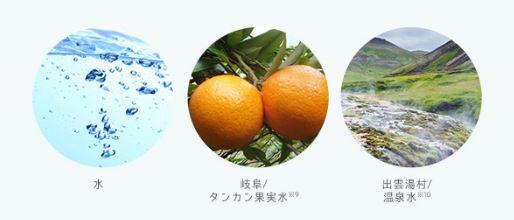 ラブユアスキン商品に使われる水とタンカンと温泉水の画像