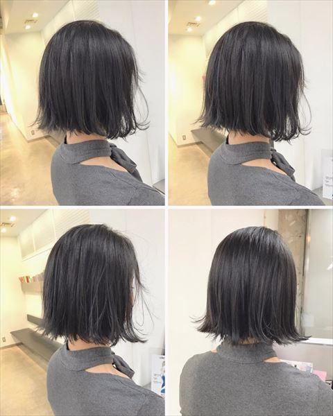 流行の髪色アイスグレーのヘアカラーサンプル画像8