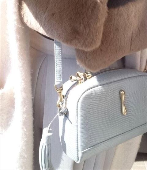 流行のアイスグレーカラーの肩掛けバッグの画像