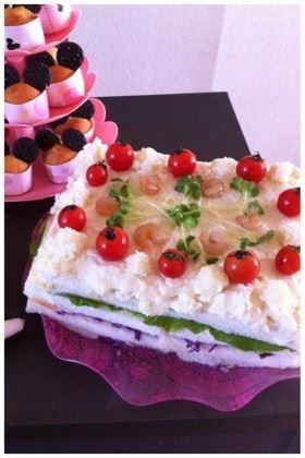 パーティーメニューなサンドイッチケーキ
