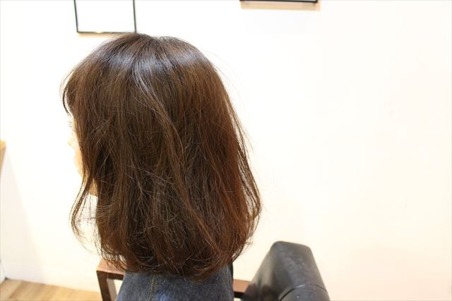 チャップアップシャンプーを使う前の女性の横髪の画像