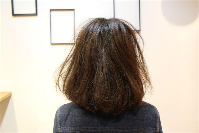 チャップアップシャンプーを使う前の女性の後ろ髪の画像