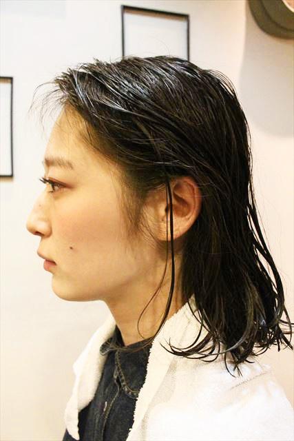 チャップアップシャンプーで髪を洗った直後の髪の画像