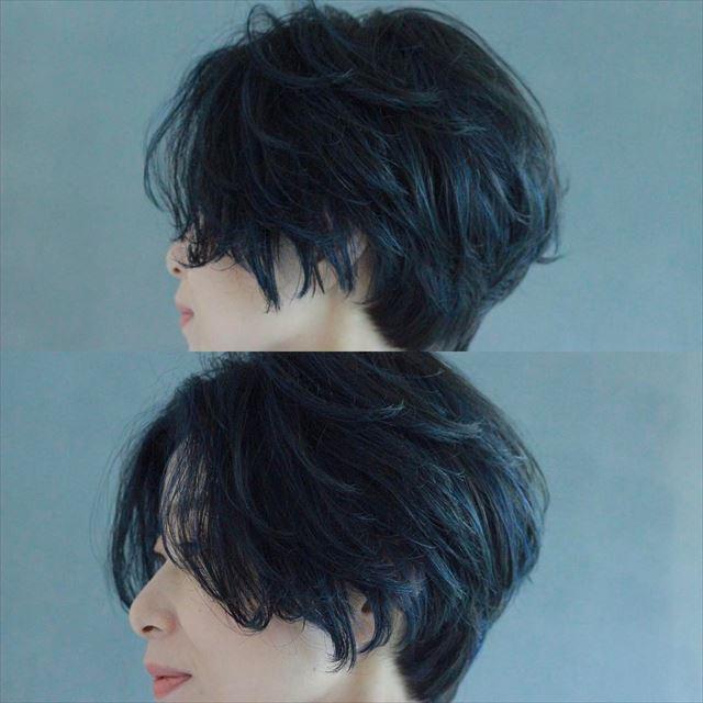 黒髪でハンサムショートの女性の髪型画像2