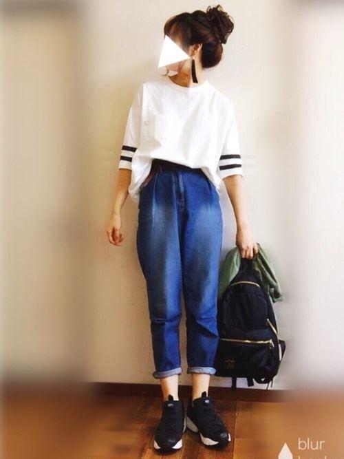 Reebokインスタポンプフューリーをパンツで着こなした春夏コーディネート画像2