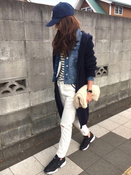 Reebokインスタポンプフューリーをパンツで着こなした春夏コーディネート画像3