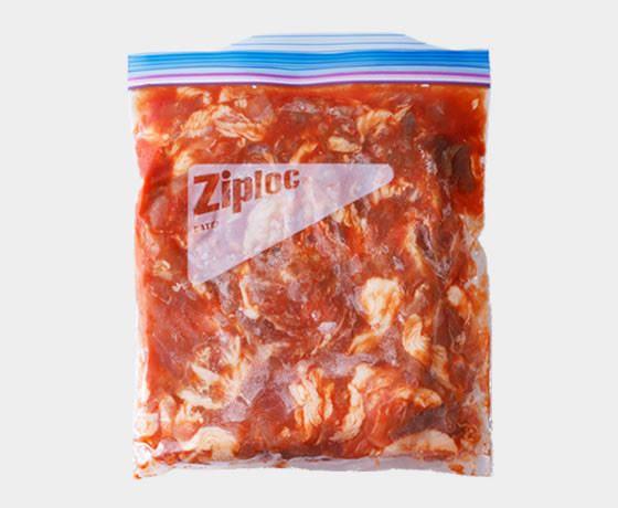 豚こま肉のケチャップ味の下味冷凍画像