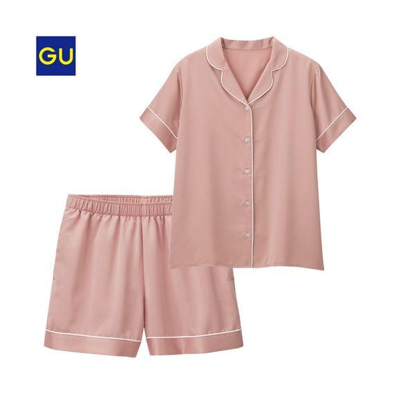GU「パジャマサテン(半袖)ショートPT」