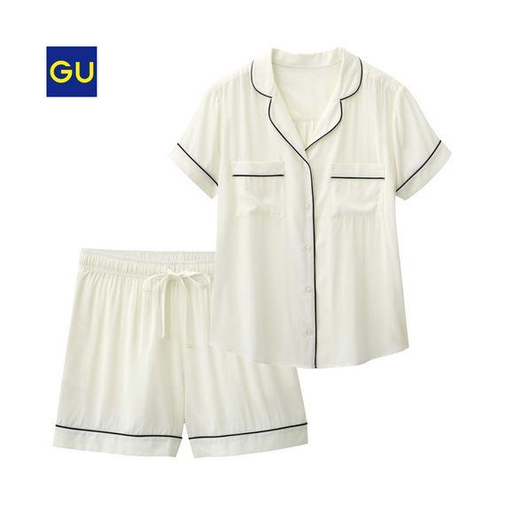 GU「パジャマ(パイピング・半袖&ショートパンツ)」