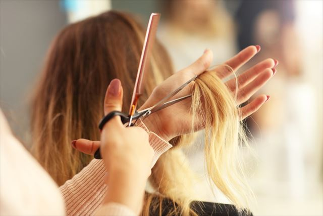 美容室で髪質をチェックされる女性の画像