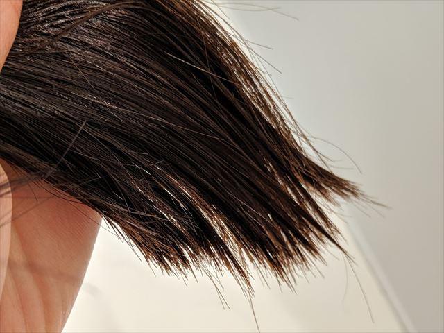 ラサーナプレミオールのヘアエッセンスを塗った毛先の画像