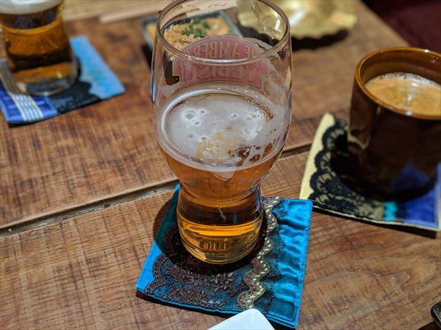 飲みかけのビールの画像