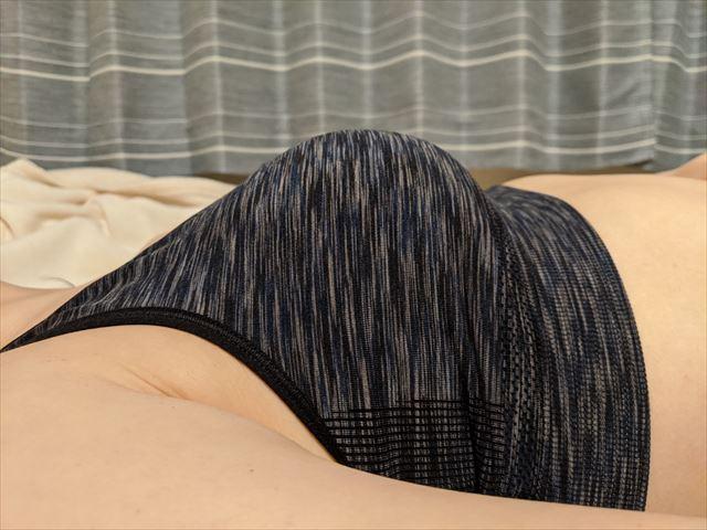 セルノートナイトブラを2ヶ月使用した後の仰向けになった胸の画像
