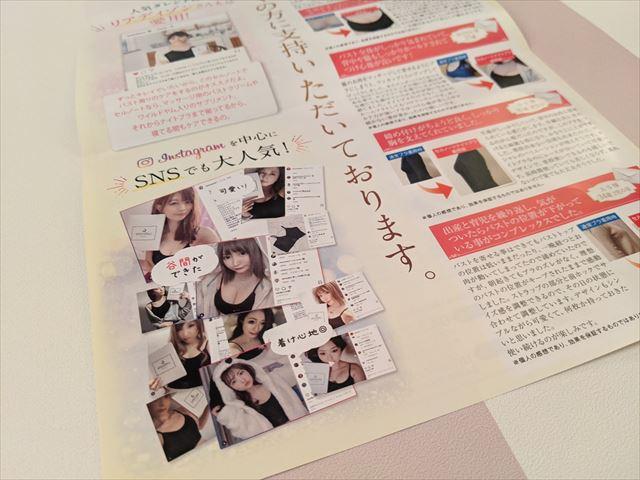 セルノートナイトブラに同梱されたパンフレットの画像