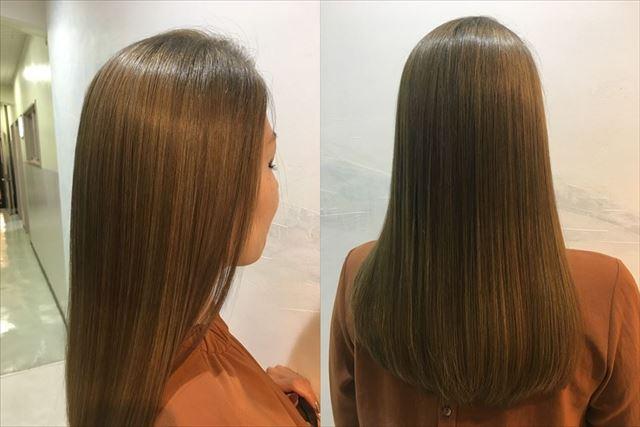 美容室でオネストを施術した女性のサイドとバックの髪質画像
