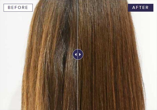 エイチツーオネストで水素トリートメントした髪のビフォーアフター画像